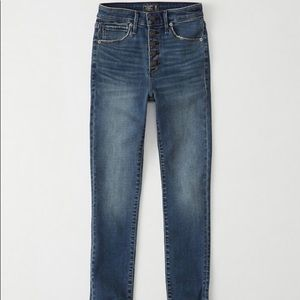 BUTTON FRONT HIGH RISE SUPER SKINNY ANKLE JEANS